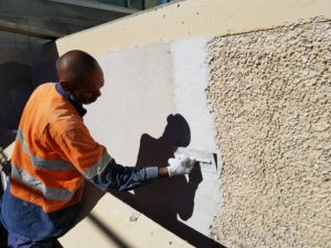 WTP Renderfill application on exposed aggregate concrete repair