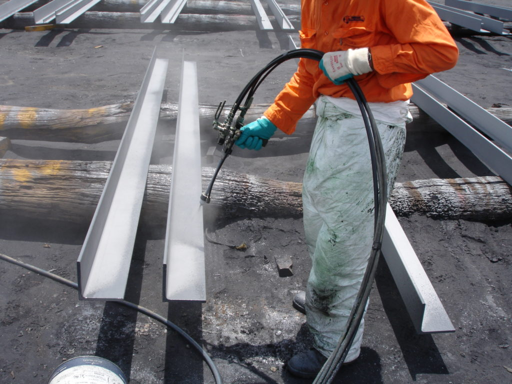Tufflon being spray applied to Steel Beams for Corrosion Prevention