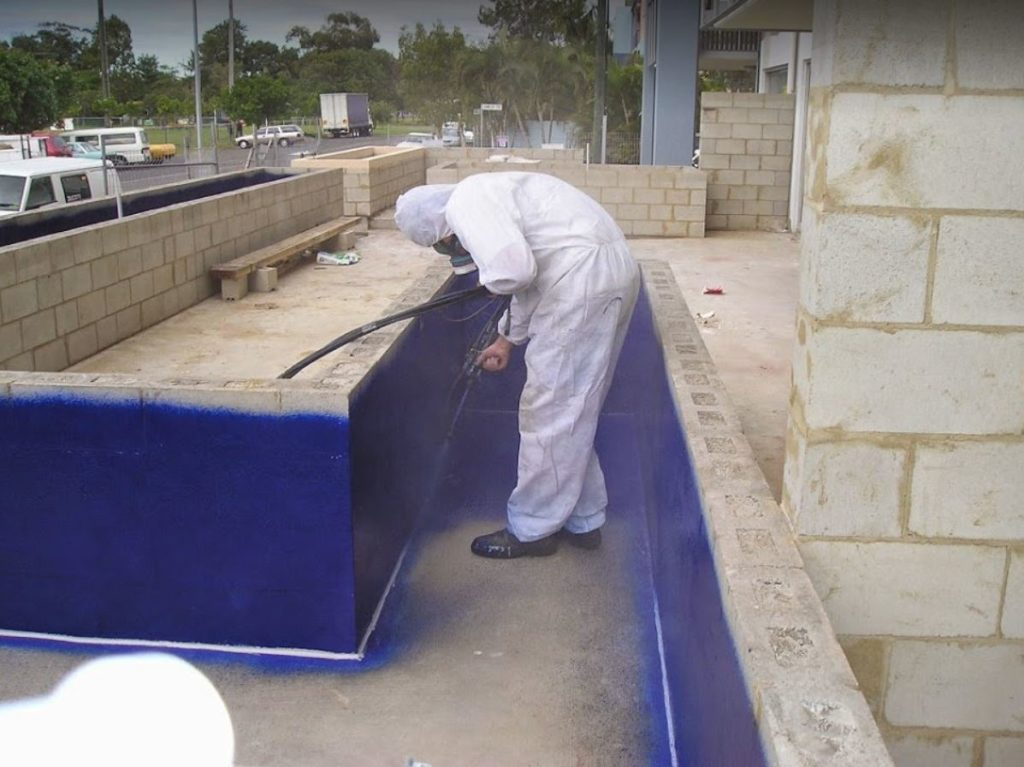 Elaston-W80 Pure Polyurea waterproofing membrane being spray applied