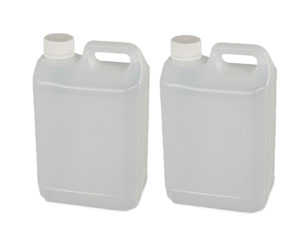 Plastic chemical container twin pack with handle