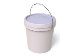 15L Plastic Bucket with Lid Plain White