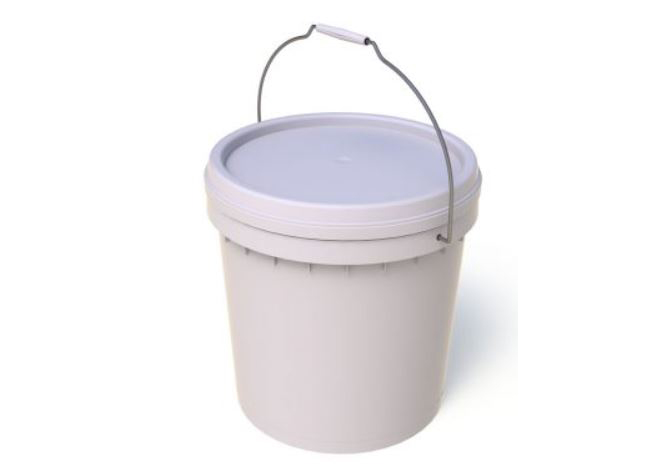 15L Plastic Bucket with Lid Plain White