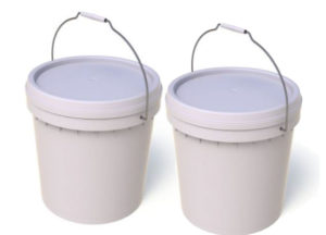 15L Plastic Bucket with Lid Plain White 2 Buckets