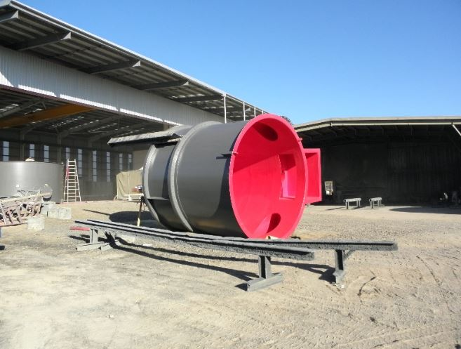 Tufflon-D60 in red applied to a Rougher Tank for the Mining Industry