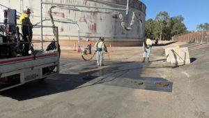 Polyurea spray applied chemical containment bund