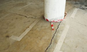 Concrete sinking in a carpark subsidence