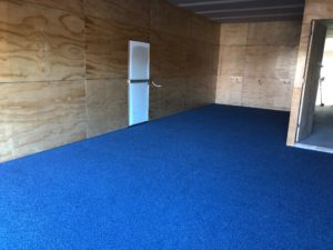 Garage floor finished with Coloured Recycled Glass with a Coat of Opalon-F45 Polyaspartic