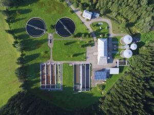 Sewerage treatment plant clarifier tank pond